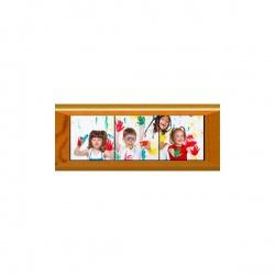 Kit Mosaico da 3 Mattonelle in Ceramica 10,8x10,8cm. con Cornice in Legno 11x33 cm